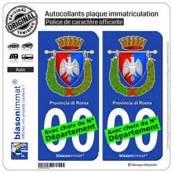 2 Autocollants plaque immatriculation Auto : Rome Province - Armoiries