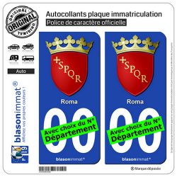 2 Autocollants plaque immatriculation Auto : Rome Ville - Armoiries