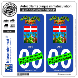 2 Autocollants plaque immatriculation Auto : Asti Province - Armoiries