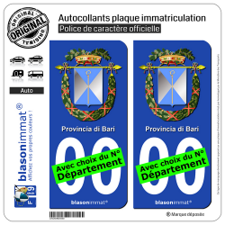 2 Autocollants plaque immatriculation Auto : Bari Province - Armoiries
