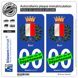 2 Autocollants plaque immatriculation Auto : Bari Ville - Armoiries