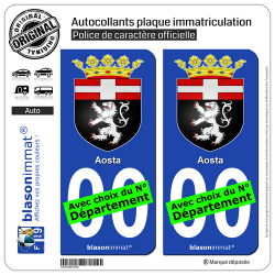 2 Autocollants plaque immatriculation Auto : Aoste Ville - Armoiries