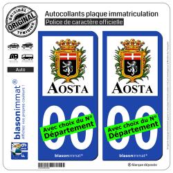 2 Autocollants plaque immatriculation Auto : Aoste Ville - Città