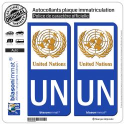 2 Autocollants plaque immatriculation Auto UN United Nations