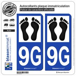 2 Autocollants plaque immatriculation Auto 9G Pieds-Noirs