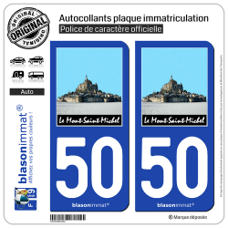2 Autocollants plaque immatriculation Auto 50 Le Mont-Saint-Michel