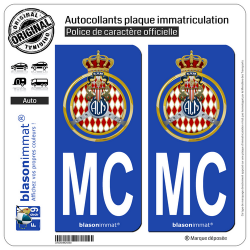 2 Autocollants plaque immatriculation Auto MC Automobile Club de Monaco - Blason