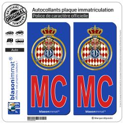 2 Autocollants plaque immatriculation Auto MC Rouge Automobile Club de Monaco - Blason