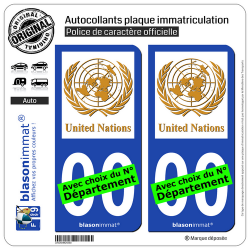 2 Autocollants plaque immatriculation Auto : United Nations