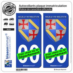 2 Autocollants plaque immatriculation Auto : Ordre du Temple - Jacques de Molay