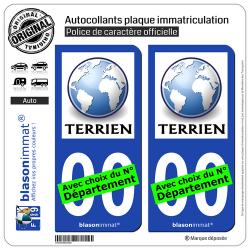 2 Autocollants plaque immatriculation Auto : Terrien - Planète