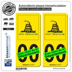 2 Autocollants plaque immatriculation Auto : Gadsden - Collector