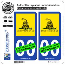 2 Autocollants plaque immatriculation Auto : Gadsden - Drapeau