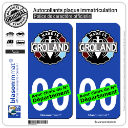 2 Autocollants plaque immatriculation Auto : Le Groland - Made in