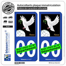 2 Autocollants plaque immatriculation Auto : Colombe de la Paix