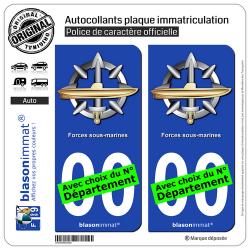 2 Autocollants plaque immatriculation Auto : Forces sous-marines