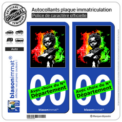 2 Autocollants plaque immatriculation Auto : Baby Rasta