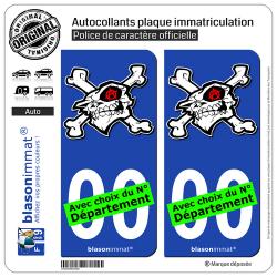 2 Autocollants plaque immatriculation Auto : Anarchie - Tête de Mort