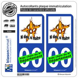 2 Autocollants plaque immatriculation Auto : Anarchie - Ni dieu, ni maître