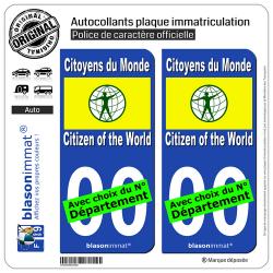 2 Autocollants plaque immatriculation Auto : Citoyens du Monde - Drapeau
