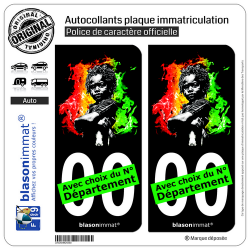 2 Autocollants plaque immatriculation Auto : Baby Rasta - Fond Noir