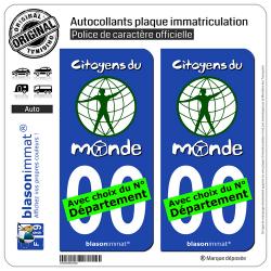 2 Autocollants plaque immatriculation Auto : Citoyens du Monde