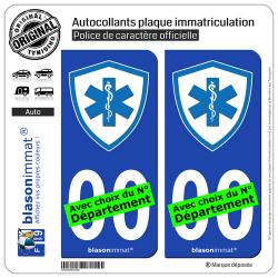 2 Autocollants plaque immatriculation Auto : Ambulancier - Blason