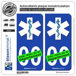 2 Autocollants plaque immatriculation Ambulancier - Etoile de Vie