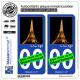 2 Autocollants plaque immatriculation Auto : Tour Eiffel - Paris