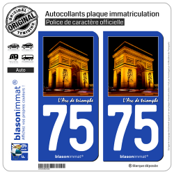 2 Autocollants plaque immatriculation Auto 75 Arc de triomphe - Paris