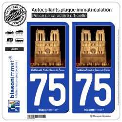 2 Autocollants plaque immatriculation Auto 75 Cathédrale Notre-Dame - Paris