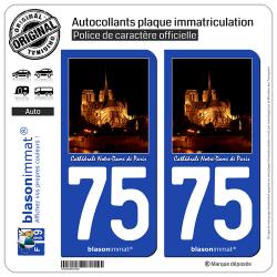 2 Autocollants plaque immatriculation Auto 75 Cathédrale Notre-Dame II - Paris