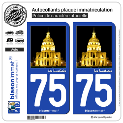 2 Autocollants plaque immatriculation Auto 75 Les Invalides - Paris