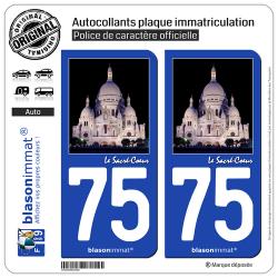 2 Autocollants plaque immatriculation Auto 75 Sacré-Cœur - Paris