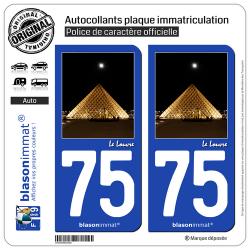 2 Autocollants plaque immatriculation Auto 75 Le Louvre - Paris