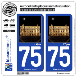 2 Autocollants plaque immatriculation Auto 75 L'Opéra - Paris