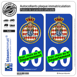 2 Autocollants plaque immatriculation Auto : Automobile Club de Monaco - Blason