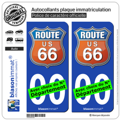 2 Autocollants plaque immatriculation Auto : US Route 66 - Couleurs