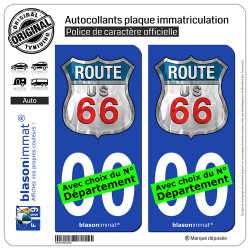 2 Autocollants plaque immatriculation Auto : US Route 66