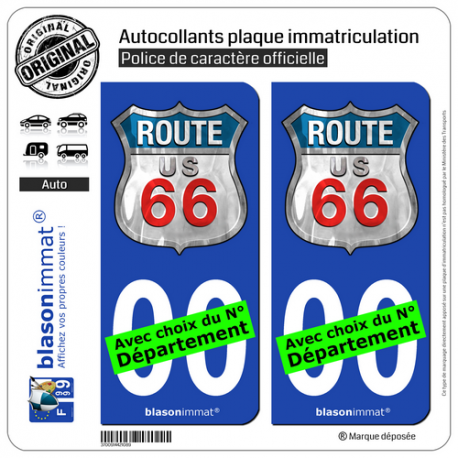 2 Autocollants plaque immatriculation Auto : US Route 66