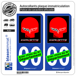 2 Autocollants plaque immatriculation Auto : Corvette - Racing