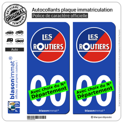 2 Autocollants plaque immatriculation Auto : Les Routiers