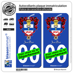 2 Autocollants plaque immatriculation Auto : Jean Bart - Armoiries