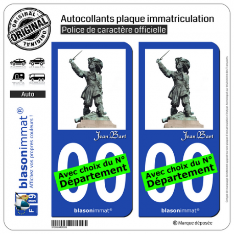 2 Autocollants plaque immatriculation Auto : Jean Bart - Statue