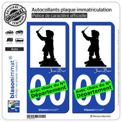2 Autocollants plaque immatriculation Auto : Jean Bart - Silouhette