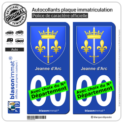 2 Autocollants plaque immatriculation Auto : Jeanne d'Arc - Armoiries