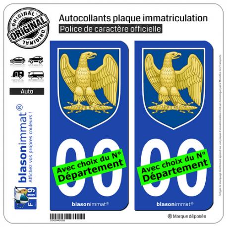 2 Autocollants plaque immatriculation Auto : Napoléon 1er - Blason