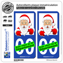 2 Autocollants plaque immatriculation Auto : Père Noël - Cartoon