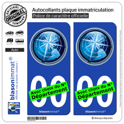 2 Autocollants plaque immatriculation Auto : Globe et Rose des Vents