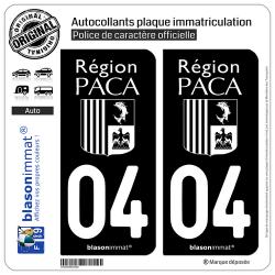 2 Autocollants plaque immatriculation Auto 04 PACA - LogoType Black